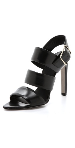 Shop Alexander Wang online and buy Alexander Wang Kerry Slingback Sandals - Thick leather straps and an angular toe bed create the modern profile of these elegant Alexander Wang sandals. Oversized buckle closure at ankle. Covered heel and leather sole.  Leather: Calfskin. Imported, China.  MEASUREMENTS Heel: 4.5in / 115mm - Black