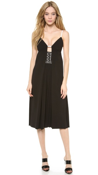 Alexander Wang Pleated Cami Logo Eyelet Dress