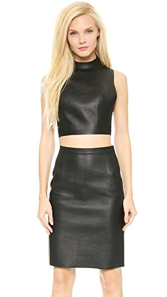 Alexander Wang Cropped Leather Halter Top