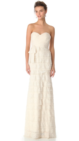 Badgley Mischka Collection Strapless Lace Gown