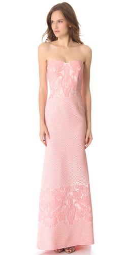 Badgley Mischka Collection Brocade Strapless Gown