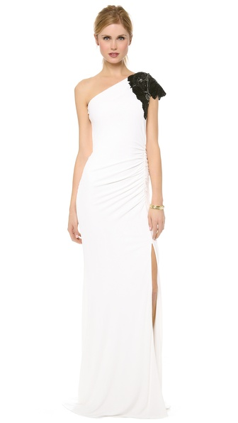 Badgley Mischka Collection Beaded One Shoulder Gown