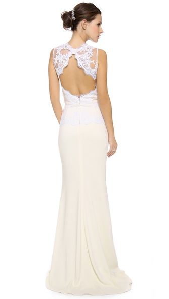 badgley mischka collection lace open back peplum gown