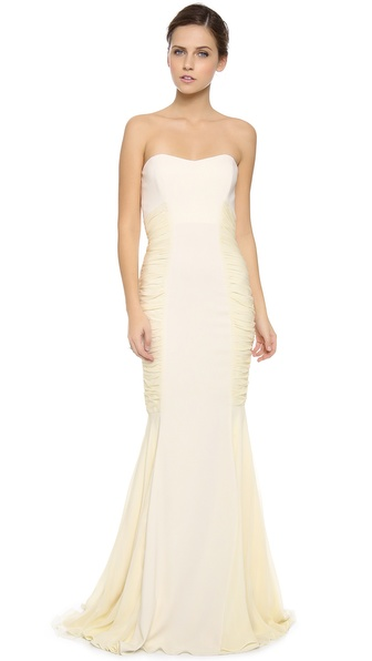 Badgley Mischka Collection Ruched Strapless Gown