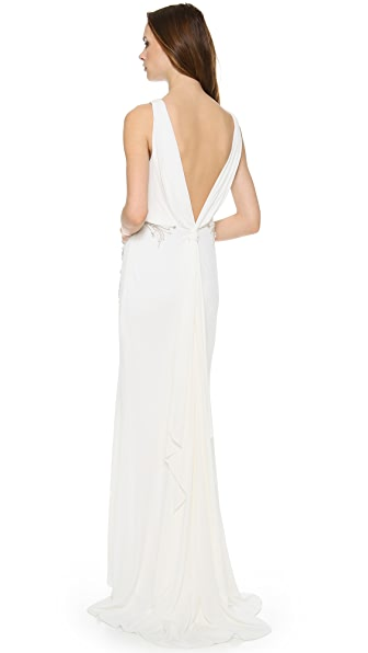 Badgley Mischka Collection Drape Back Loop Dress