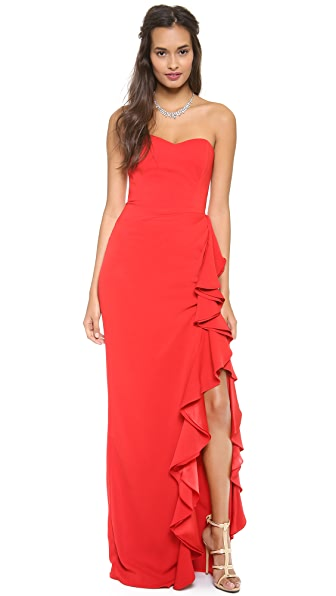 Badgley Mischka Collection Ruffle Slit Strapless Gown