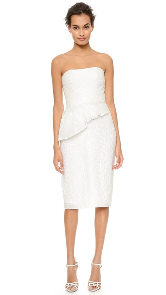 Badgley Mischka Collection Asymmetrical Peplum Strapless Dress - White