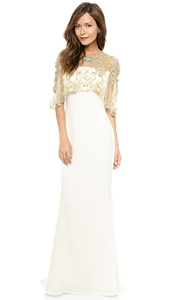 Badgley Mischka Collection Pebble Crepe Gown with Cape