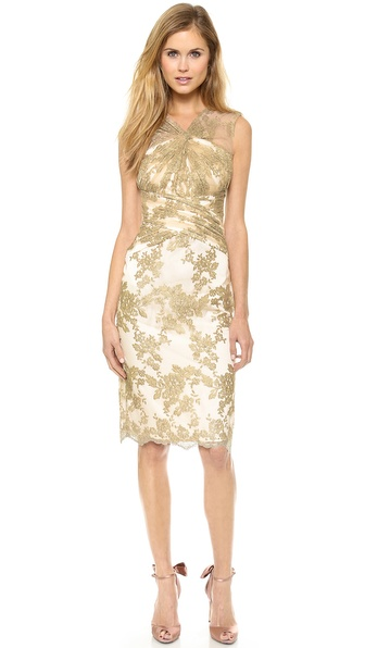 Badgley Mischka Collection Lace Loop Cocktail Dress