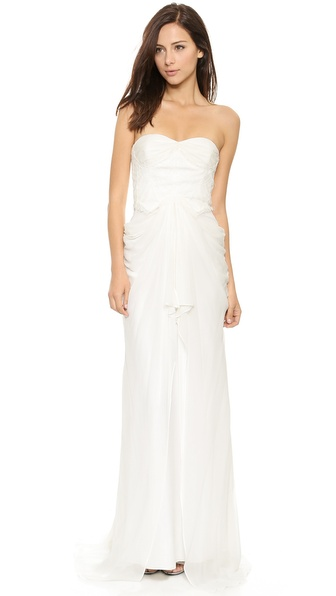 badgley mischka collection lace corset gown