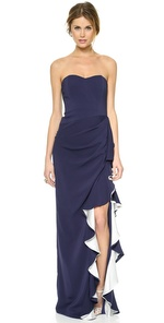Strapless Strapless Ruffle Slit Strapless Gown (Multicolor)
