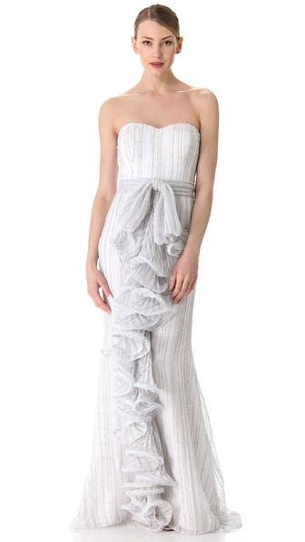Badgley Mischka Couture Strapless Ruffle Front Gown
