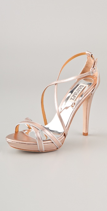 Badgley Mischka Fierce Metallic Strappy Sandals