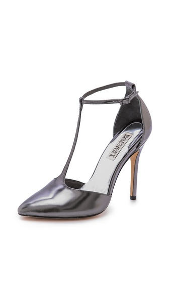 Badgley Mischka Pila Ii T Strap Pumps - Anthracite at Shopbop / East Dane