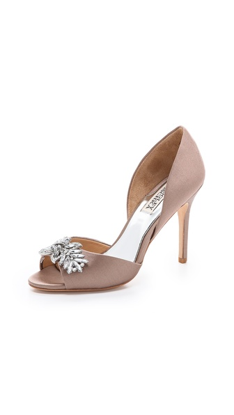 Badgley Mischka Nikki Satin Pumps - Taupe at Shopbop / East Dane