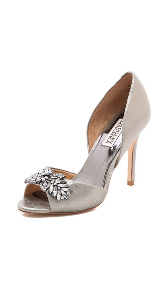 Badgley Mischka Nikki Metallic Pumps - Pewter at Shopbop / East Dane