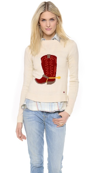 Banjo & Matilda Saloon Crew Neck Sweater - Ivory/Merlot at Shopbop / East Dane