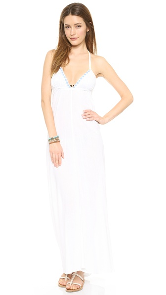 Shop Basta Surf online and buy Basta Surf Tinos Cover Up Dress White - A Basta Surf cover up dress in breezy gauze. Embroidery traces the neckline, and elastic cinches the waist. The spaghetti straps tie behind the neck and in back. Sheer. Fabric: Gauze. 100% cotton. Wash cold. Imported, India. Measurements Length: 40in / 101.5cm, from center back Measurements from size S. Available sizes: L,M,S,XS