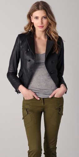 Boy. by Band of Outsiders Cropped Military Leather Jacket