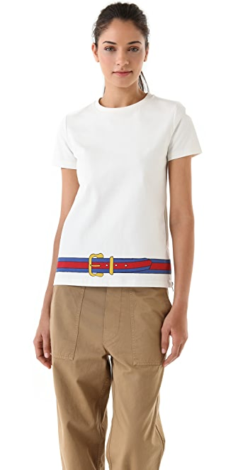 Band of Outsiders T-Shirt with Belt Hem