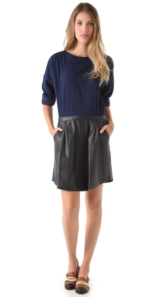 Boy. by Band of Outsiders Dress with Leather Skirt