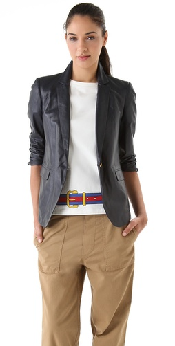 Boy. by Band of Outsiders Rope Shoulder Leather Jacket