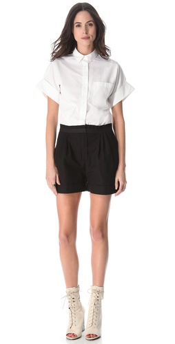 Band of Outsiders Poplin & Canvas Romper