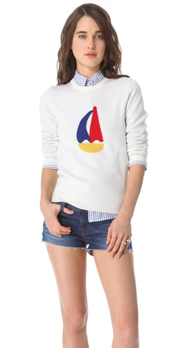 Band of Outsiders Sailboat Intarsia Sweater