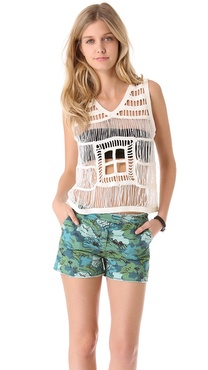 Band of Outsiders Macrame V Neck Tank