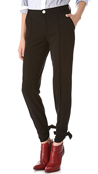 Band of Outsiders Cabrini Pintuck Pants with Ankle Tie