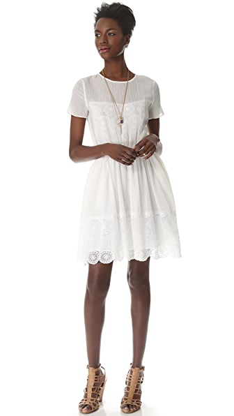 Band of Outsiders Short Sleeve Dress with Lace
