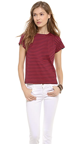 Band of Outsiders Crew Neck Striped Top