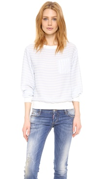 Band of Outsiders Silk Sweatshirt Top