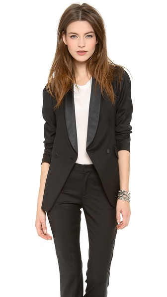 Band Of Outsiders Shawl Collar Double Breated Blazer - Black at Shopbop / East Dane