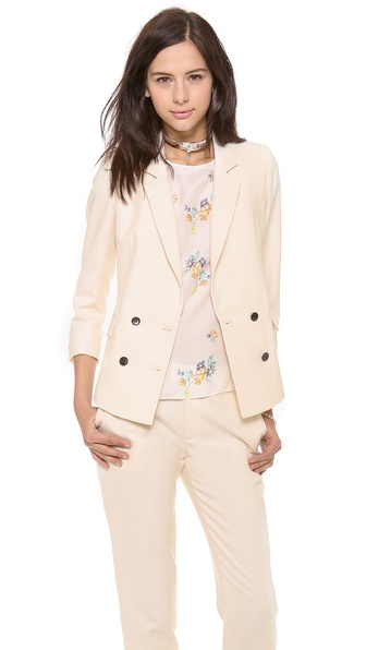 Band Of Outsiders Shrunken Double Breasted Blazer - Ecru at Shopbop / East Dane