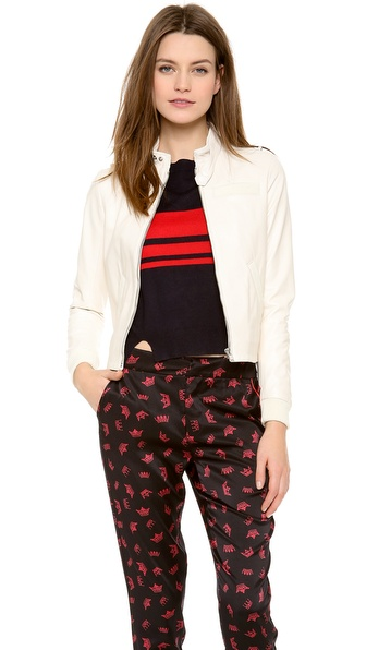 Band Of Outsiders Shrunken Moto Jacket - Ecru at Shopbop / East Dane