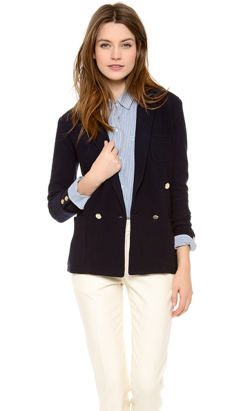 Band Of Outsiders Knit Double Breasted Blazer - Navy at Shopbop / East Dane
