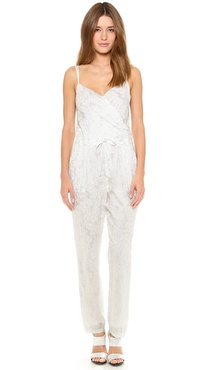 Band of Outsiders Wave Print Crinkle Chiffon Jumpsuit