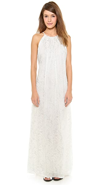 Band of Outsiders Wave Print Crinkle Chiffon Halter Gown