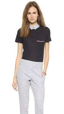 Band of Outsiders Knit Top with Shirt Collar