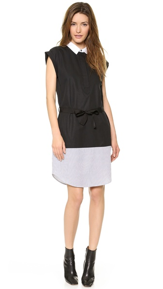 Kupi Band of Outsiders haljinu online i raspordaja za kupiti Band Of Outsiders Patchwork Shirtdress Ivory/Black online