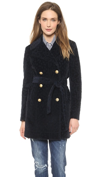 Band Of Outsiders Furry Leopard Classic Pea Coat - Navy