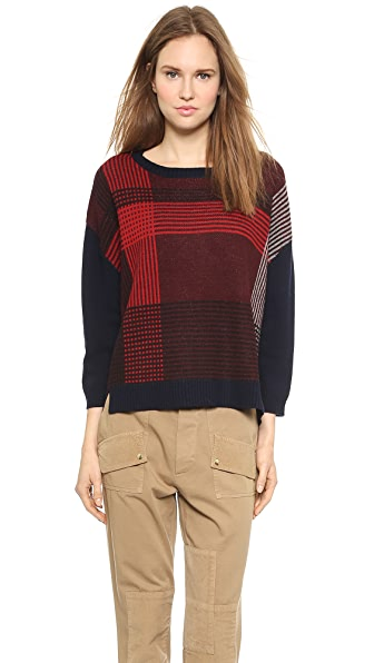Band of Outsiders Felted Wool Plaid Pullover