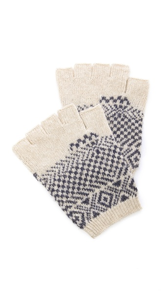 Band of Outsiders Broken Fair Isle Fingerless Gloves
