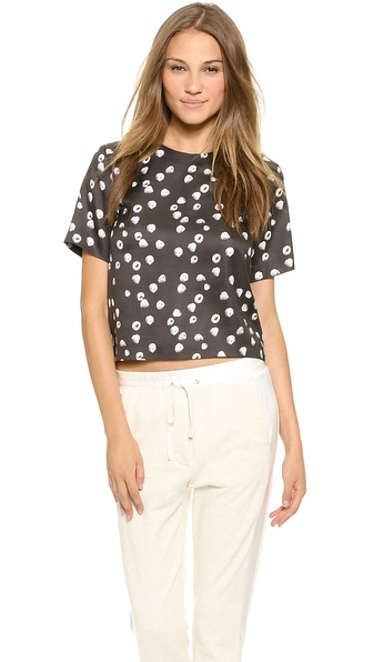 Band of Outsiders Print Crop Top with Back Zip