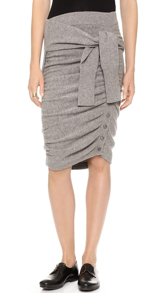 Band of Outsiders Ruched Sweater Skirt with Sleeve Ties
