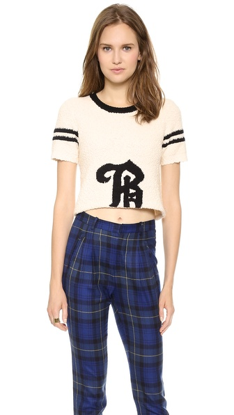 Band of Outsiders Short Sleeve B Crop Sweater