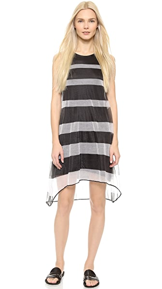 Shop Band of Outsiders online and buy Band Of Outsiders Sheer Stripe Trapeze Dress - Black/White dress online