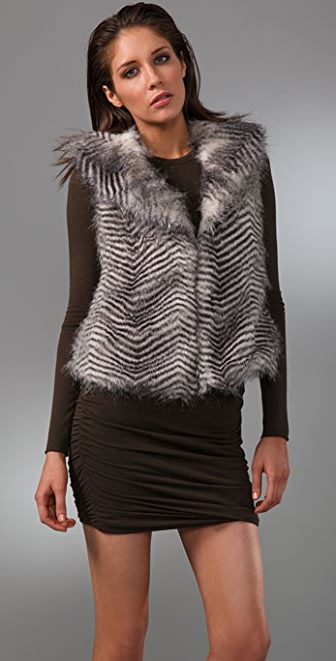 BB Dakota Janika Striped Faux Fur Vest