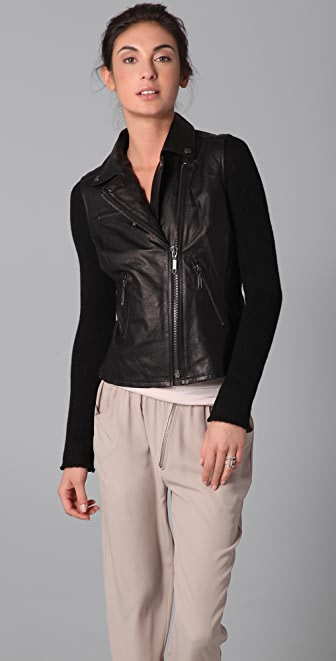 BB Dakota Pearlman Leather Moto Jacket with Knit Sleeves